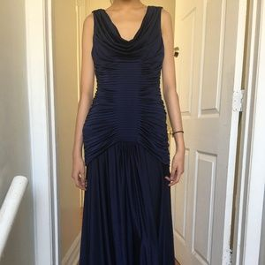 NWT Adrianna Papell ruched navy evening gown